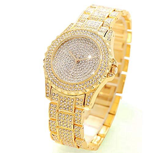 Reloj de Pulsera de Cuarzo para Mujer, con Cristales y Diamantes de imitación, Correa de Acero, Esfera Redonda, Reloj analógico clásico