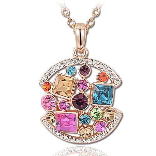 Kami Idea Regalos Dia de la Madre Mujer Collar Reina de la Fiesta Colgante Chapado en Oro Rosa Cristales Preciosa Austriacos Regalos de Madres Joyeria para Aniversario Cumpleaños Mamá Chicas Dama