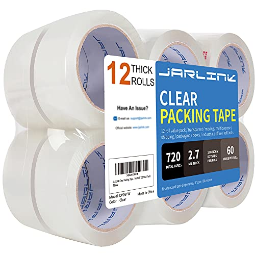 JARLINK Clear Packing Tape (12 Rolls), Heavy Duty Packaging Tape for Shipping Packaging Moving Sealing, 2.7mil Thick, 1.88 inches Wide, 60 Yards Per...