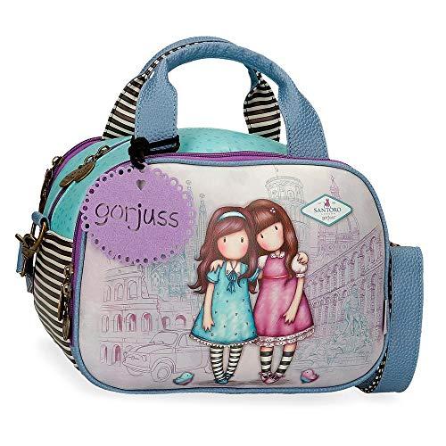 Neceser GORJUSS con Bandolera Adaptable Friends Walk Together, 28x21x19 cm, Morado