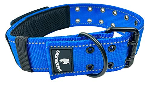 Dog Collars K9 Harness Tactical Military Style - 2' Two Inch Wide Heavy Duty Thick Nylon Webbing for Strong Large XL Big Dogs - Metal Two Pin Belt Buckle - USA American Flag Patch (12'-20', Blue)