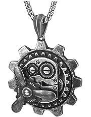 COOLSTEELANDBEYOND Steampunk Ingranaggio Meccanico Ciondolo, Collana Pendente da Uomo, Acciaio, Finitura Ruvida, Catena Grano 75cm