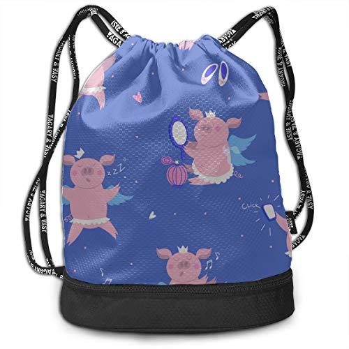 Sports Gym Bag For Women Sleeping Pig Sweet Dream Gym Drawstring Bags Backpack Sports String Bundle Backpack For Sport With Shoe Pocket Best Backpack
