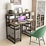 """Computer Desk with Hutch DEWEL 47"""" Office Desk Gaming Table Writing Study Table Workstation with 2 Storage Bookshelf for Home Office"""
