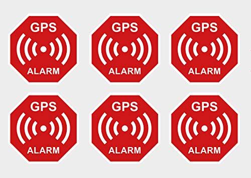 6 Stück Premium Aufkleber GPS Alarm Sicherheit Hinweis Warnung Wetterfest UV-Beständig
