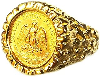 14K Yellow Gold 16 Mm Coin Ring With A 22K Mexican Dos Pesos Coin-Random Year Coin