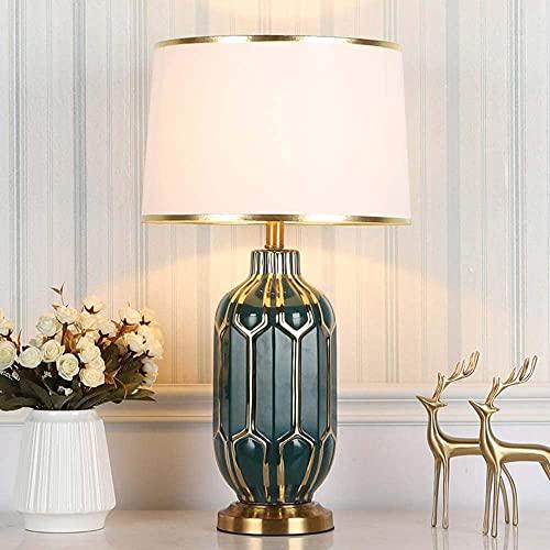 LATOO Lámpara de Mesa Lámpara de Mesa de cerámica Verde Simple, lámpara de Dormitorio nórdica Junto a la Cama, habitación Modelo, decoración de Hotel, 36x65 cm