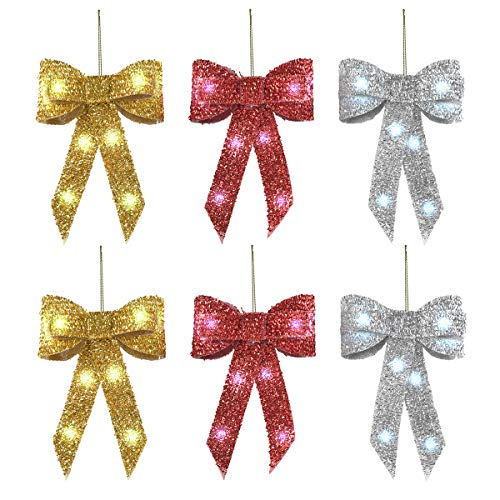 6 Pack Christmas Bows Decoration Hanging Light - Glitter Xmas Indoor Outdoor Wreath Bows for Garland Christmas Tree Yard Garden Porch Party Decor
