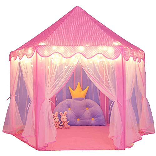 JZK Foldable pink play tent for girls, with star string light, princess palace castle indoor outdoor play house for children, kids playhouse tent