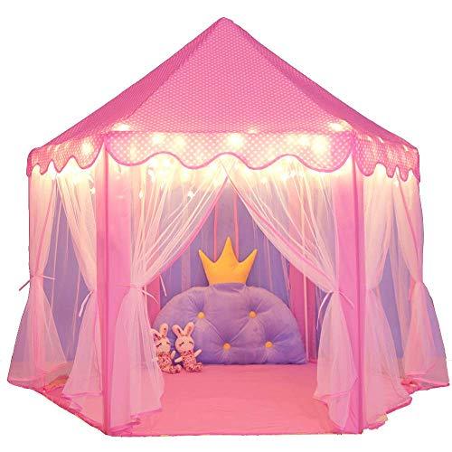JZK Grande Tenda da Gioco Rosa Bambina Bimba Castello da Principessa Giocattolo per Bambini Ragazze cameretta casetta Gioco per Bambini Interno Giardino
