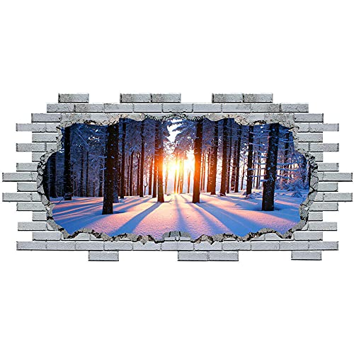 Pegatinas de pared Wall Stickers Sunset Winter Snow Trees Vinyl Decal 3D Art Hole Room S045