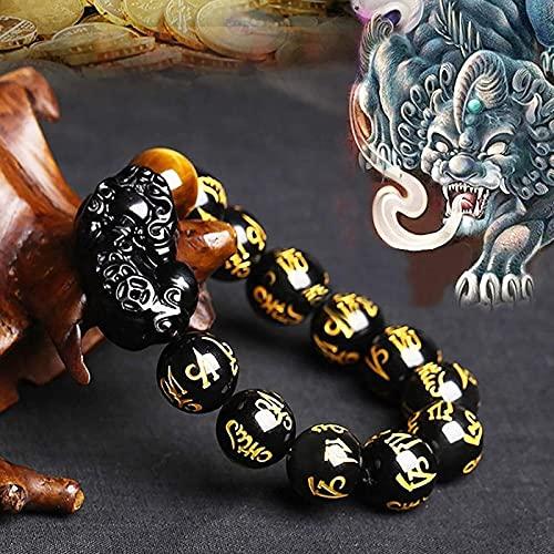 Pulsera Feng Shui Bead Feng shui riqueza pulsera natural negro obsidiana pixiu pulsera seis palabras mantra tallado tigre ojo piedra pi yao afortunado encanto brazalete amuleto para prosperidad éxito