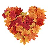 Biowow 200pcs Mixed Fall Colored Maple Leaves for Weddings Autumn PartiesTable Scatters