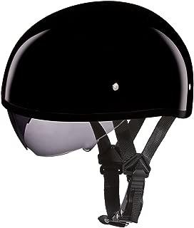 Daytona Helmets Motorcycle Half Helmet Skull Cap- Hi-Gloss Black W/Inner Shield 100% DOT Approv
