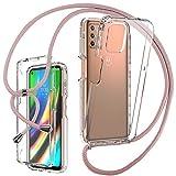 Funda con Cuerda para Motorola Moto G9 Plus - Carcasa Transparente [360°] Delantera Trasera Case TPU Bumper con Colgante Ajustable Collar Correa de Cuello Cadena Cordón [Full Body Protección] Cover