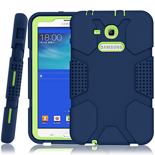 Hocase Galaxy Tab E Lite 7.0 2016 Case, Rugged Heavy Duty Kids Proof Protective Case for Galaxy Tab E Lite 7.0 [SM-T113NDWAXAR/SM-T113NYKAXAR] - Navy Blue/Lime Green