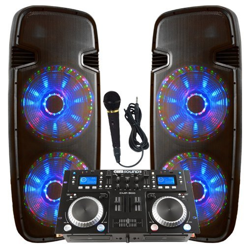 Light up the house! - Dj System - Lighted Powered Dual 15' DJ Speakers - 4000 Watts - Bluetooth, MP3, USB, SD, FM Radio or plug in your laptop or iPhone - Plug and Play - Light Show Included