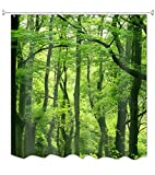 A.Monamour Natur Landschaft Grüne Bäume Wald Bild Drucken Textil Duschvorhang Für Bad Zubehör wasserdichte Tischdecke 150X180 cm / 60