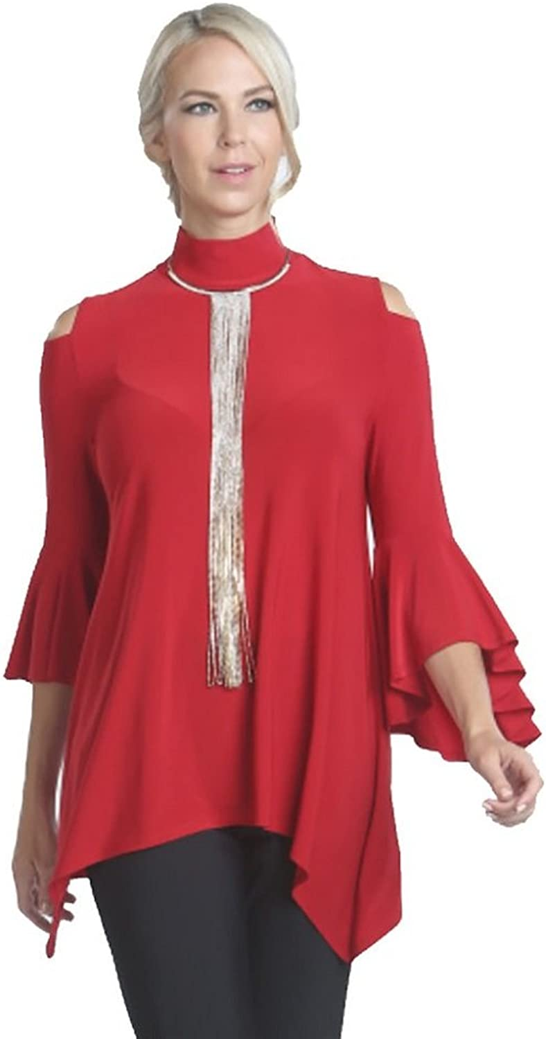 IC Collection Mock Neck Cold Shoulder Top in Red  5144TRED