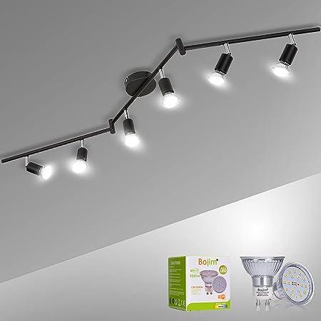 Plafonnier 6x Spots LED Orientable & Pivotants, Noir Mat, Bojim Luminaire Plafonnier LED 6W GU10 Blanc Neutre 4500K pour Salon Couloir Salle à Manger Cuisine, 220V-240V IP20, Ampoules LED Incluses