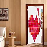 Valentines Day Door Mural Wrap Glossy Sticker Video Game Tetris Red Heart Vintage Pixelated Design Joyful Romantic Easy-to-Clean, Durable Red Pink Scarlet 32' x 80'