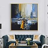 wZUN Pintura al óleo sobre Lienzo Hombre Abstracto de pie Junto al río Pintura de Pared Arte Cartel Artista decoración del hogar 60x60 Sin Marco