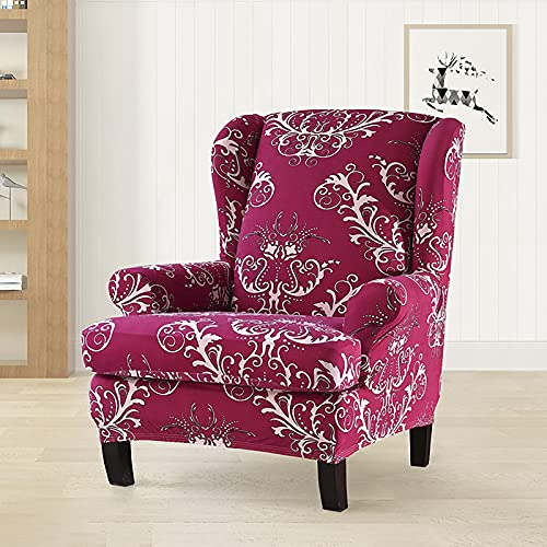 HOMEJYMADE Floral printed Stretch wingback Chair Slipcover, Modern American Armchair Cover for living room hotel (red)