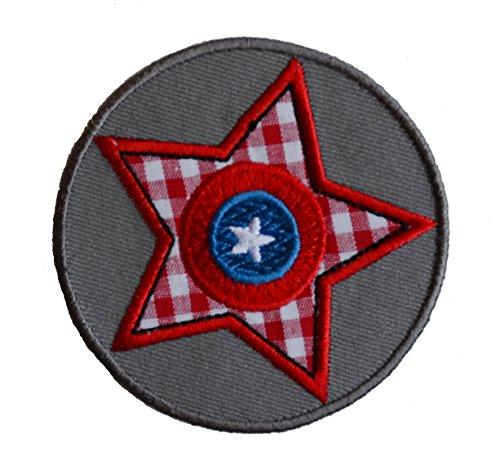 TrickyBoo 2 opstrijkbare grijze ster 7 x 7 cm ruiten roze ster 7 x 7 cm set patch applicaties voor het repareren van kinderkleding met design Zürich Zwitserland voor Duitsland en Oostenrijk