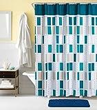 Rarva Waschbarer wasserdichter gegen Mehltau resistenter Polyester (bestes umweltfre&liches Hotel) Liner Set für Badezimmer-Duschvorhang mit Haken-180x200CM,Blaues Quadrat
