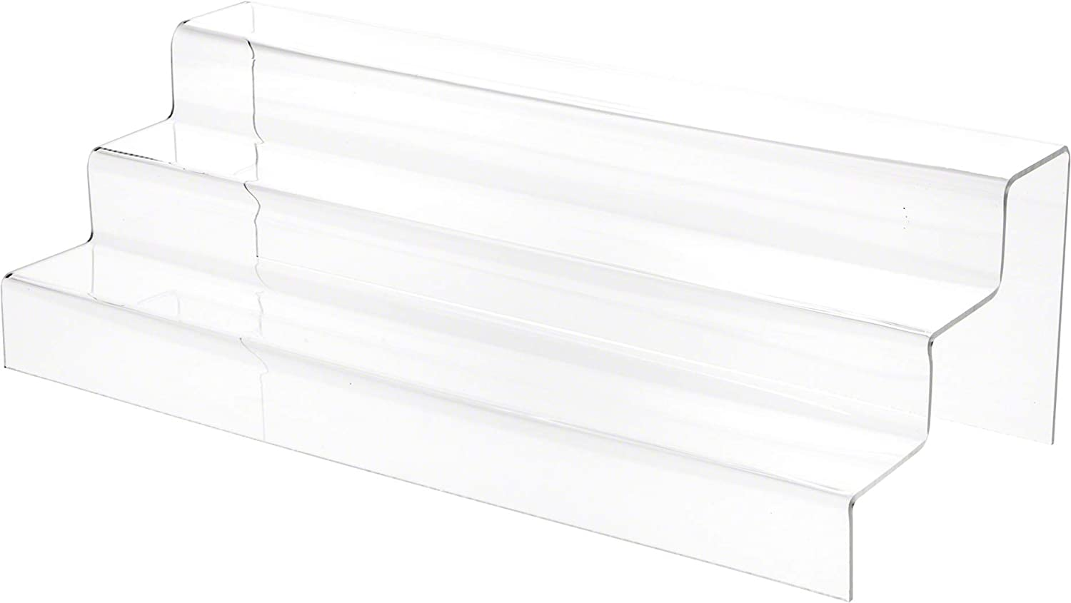 Plymor Ranking TOP6 Clear Acrylic 3-Step Solid Back Display In a popularity x H Stairs 5.5