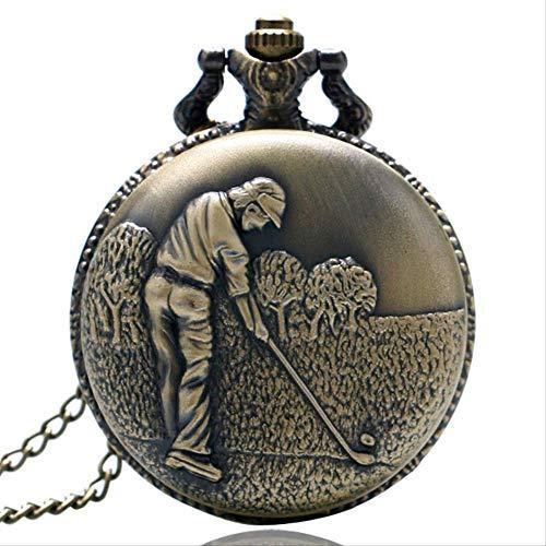 SWAOOS Bronce Antiguo Golf Tema Relojes De Bolsillo con Moda Casual Collar Colgante Cadena Mejor Regalo A Golfistas Hombres Reloj Portátil