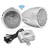 Pyle 300 Watt Weatherproof Motorcycle Speaker and Amplifier System w/ Two 2.25 Inch Waterproof Speakers, AUX IN- Handlebar Mount ATV Mini Stereo Audio Receiver Kit Set - Also for Marine Boat - PLMCA60
