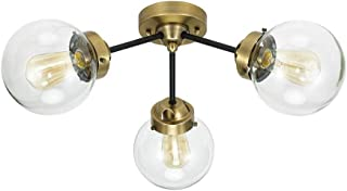 Rivet Mid-Century Modern Glass Globe Flushmount Lighting Fixture with 3 LED Bulbs - 24.5 x 24.5 x 10 Inches, Black And Brass