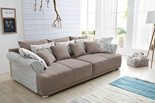Invicta Interior Design Big Sofa Provence Landhauslook mit Vintagecharakter, große Sitzfläche, Armlehnen aus Rattan