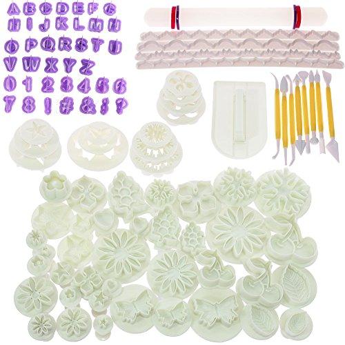 Kit de decoración de glaseado con molde para modelar flores y herramientas para fondant, 108Pcs, 1
