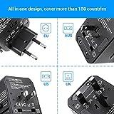 BrizLabs Universal Reiseadapter Weltweit Reisestecker mit 4 USB Ports + Typ C International Ladegerät Sicherheit AC Steckdose mit Ersatz Sicherung für Reisen in EU UK US AU Asien Über 200 Ländern - 6