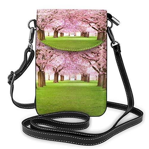 Lawenp Pink Cherry Floral Crossbody Monedero para teléfono Pequeño Mini bolso de hombro Bolso para teléfono celular Cartera de cuero para mujeres y niñas