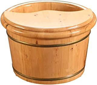 Qing MEI Foot Tub, Wooden Barrel with Lid Foot Bath Barrel Wooden Barrel Foot Bath Barrel Foot Bath Foot Washing Barrel Household A++
