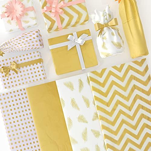 Larcenciel Seidenpapier, 120 Blatt Metallic Seidenpapier Goldenes Geschenkpapier Geschenkverpackung Papier Geschenk Verpackungsmaterial für Hochzeit, Geburtstag, Weihnachten, Party (50 x 35 cm)