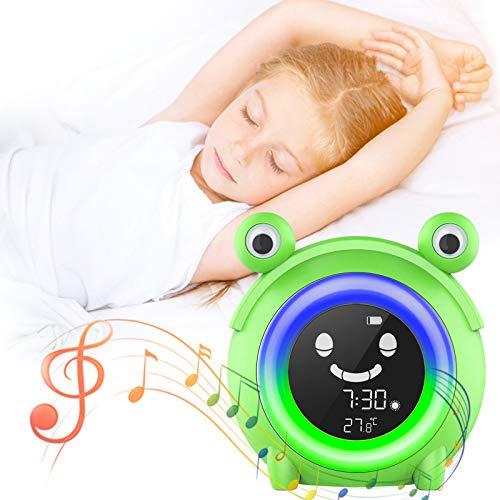 Unipampa Despertador Infantil, Rana Diseño Luz nocturna Despertador Cuenta Regresiva, Reloj Despertador Niños, 3 LED de Brillo/5 Colores/Dual Alarma/5 Musica, Control táctil, Pantalla Temperatura