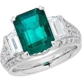 Amoro 18k White Gold Colombian Emerald Ring and Diamond Ring (1.86 cttw, G-H Color,VS2-SI1 Clarity)