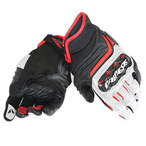 Dainese-CARBON D1 SHORT LADY Handschuhe, Schwarz/Weiss/Lava-Rot, Größe M