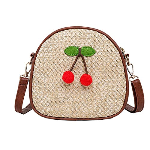 Great Deal! Leaf2you Womens Round Shoulder Bag Handle Handbag Hand-woven Cherry Pendant Zipper Weavi...