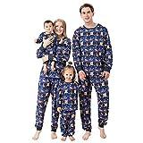 Alueeu Pijamas Dos Piezas Familiares de Navidad Top+Pantalones Invierno Otoño Mamá Papá Niños Bebé Manga Larga Homewear Pijamas Navidenos Familiares riou