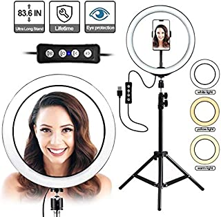 TyCom Selfie Ring Light with Tripod Stand,10 inch Inner USB Selfie Ring Light for YouTube Video and Live Makeup/Photography, LED 3 Light Modes Ringlight with Cell Phone Holder