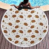 Toalla de playa al aire libre de secado rápido Erizo Toalla grande para piscina Love of Nature Theme Nueces Hojas Setas y juguetón Animal del bosque para niños para viajes, gimnasio, camping multicolo