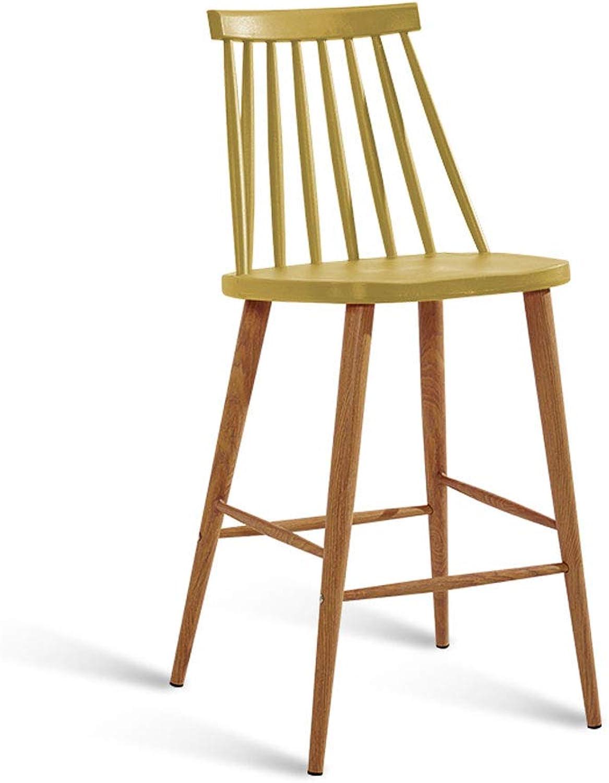 CHX Bar Chair Modern Simple High Stool Bar Table Chair Bar Stool Industrial Wind High Leg Bar Chair V (color   Earthy Yellow)
