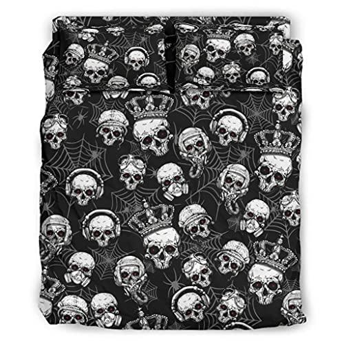 Wandlovers Juego de ropa de cama de 4 piezas, diseño de cráneo y runas escandinavas, para todo el año, funda de edredón y funda de almohada, color blanco 2 175 x 218 cm