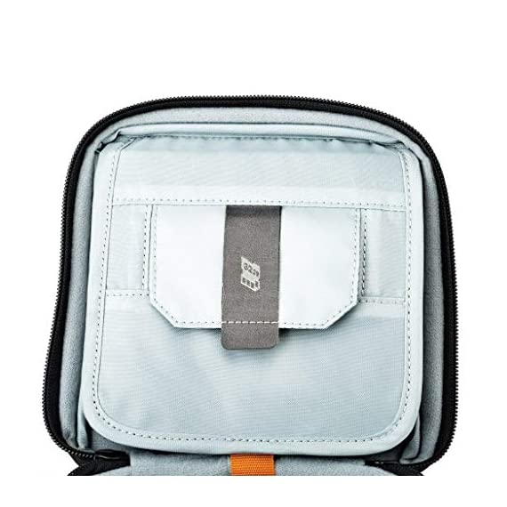Lowepro LP36915 ViewPoint CS 40 - A Soft-Sided Protective Case for a Smartphone, GoPro or 360 Camera and Accessories… 2 Smart interior organization includes adjustable dividers, three with a built-in pockets to stash a backdoor, filter or remote (and keep it from scratching camera); plus a roomy zippered pocket for cables, backdoors, mounts, tools, manuals, etc.; top panel with built-in memory pockets; plus a padded panel with stretching webbing straps to organize and secure cables and mounts Super-portable design makes it easy to carry in a larger bag or carry by the grab handle. Exterior webbing straps provide extra carry and attach options.