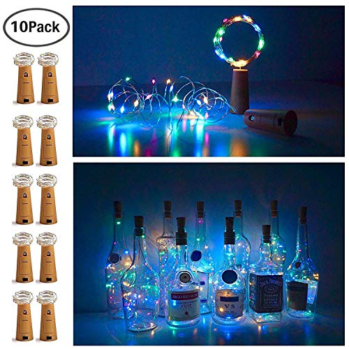 10 Pack 20 LED Wine Bottle Cork Lights Mini Fairy String Lights Copper Wire, Battery Operated Starry Lights for DIY, Festival, Wedding, Party, Indoor, Outdoor Decoration (Colorful)